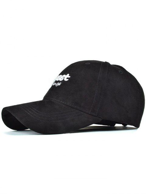 lady Letters Faux Suede Baseball Hat - BLACK  Mobile