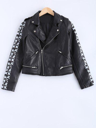 c025123154e3 Lapel Collar Letter Print PU Leather Jacket - Black S