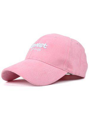Lettres Faux Suede Baseball Hat - Rose PÂle