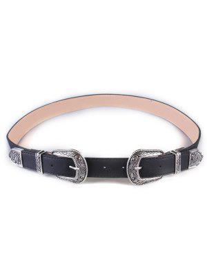 Vintage Double Buckles Wide Belt