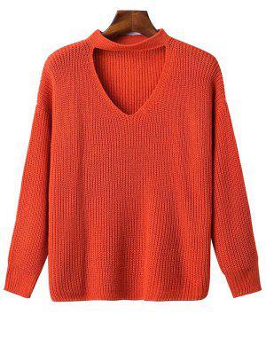 Oversized Drop Shoulder Choker Sweater - Jacinth