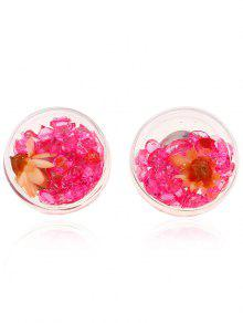 Flower Rhinestone Stud Earrings - Red