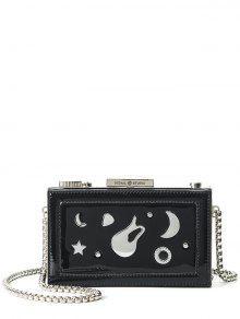 مربع سلاسل معدنية على شكل حقيبة السهرة - أسود