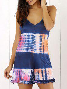 Tie Dye Print Cami Loose Romper - Blue M