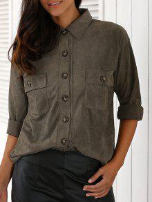 Double Pocket Turn Down Collar Loose Shirt - Blackish Green