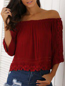 Lacework 3/4 Sleeve Cropped Blouse - Red L