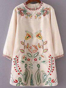 Embroidered Mini Organza Dress - Apricot S