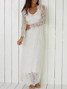 فستان المخرمات الشفافة بالأكمام  - أبيض L
