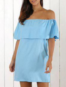Off The Shoulder Mini-robe Flouncing - Azur