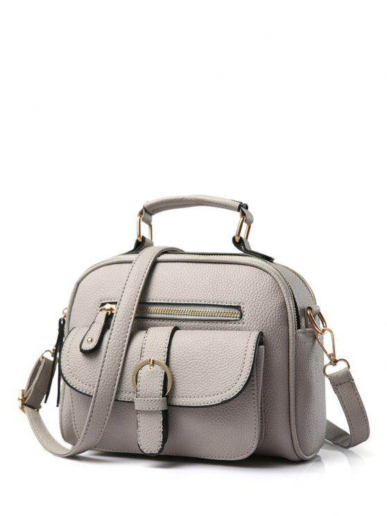 0efcd3949b 2018 Buckle PU Leather Zippers Crossbody Bag In GRAY