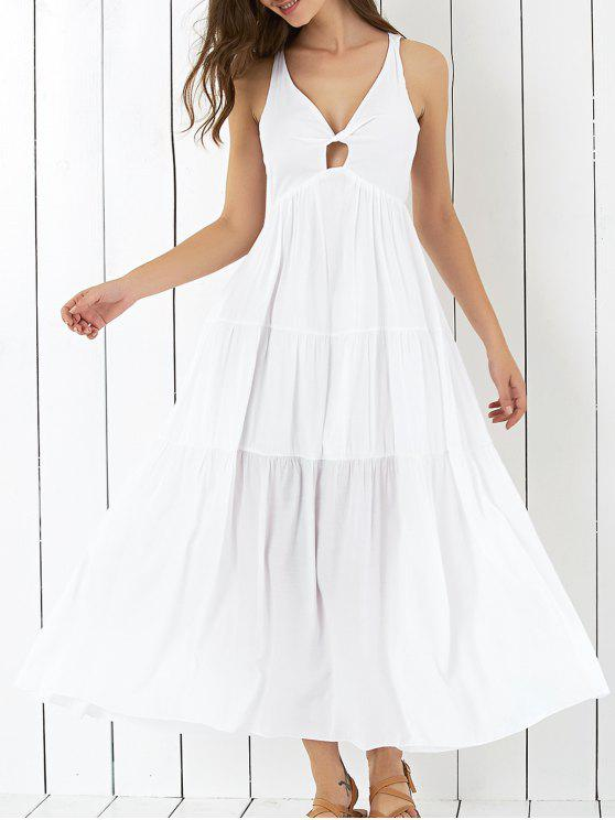 c0a85bf4fd 25% OFF  2019 Cross Back Tiered Empire Waist Dresses In WHITE