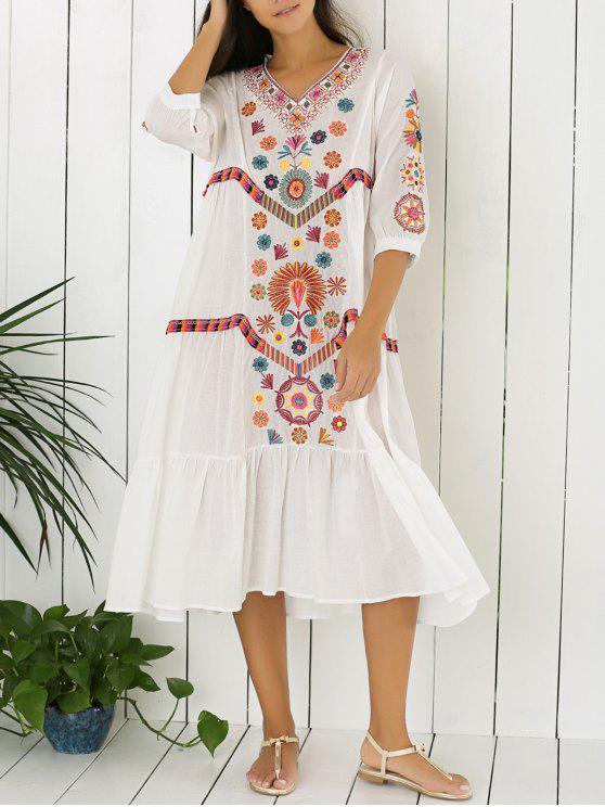 fashion Embroidered Tiered Midi Dress - WHITE M