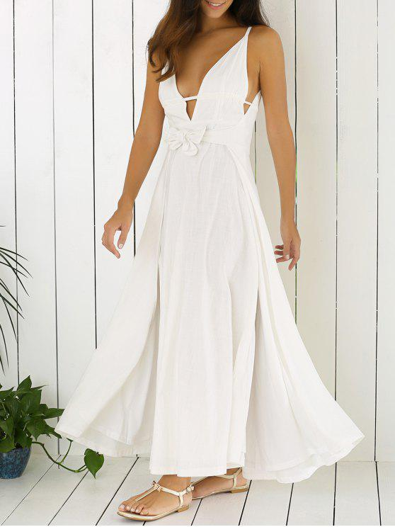 hot White Cami Plunging Neck Maxi Dress - WHITE 2XL