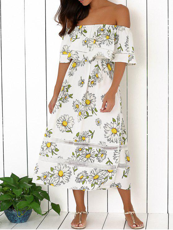 5e7fd701b315 33% OFF  2019 Floral Off The Shoulder Ruffles Midi Dress In WHITE L ...
