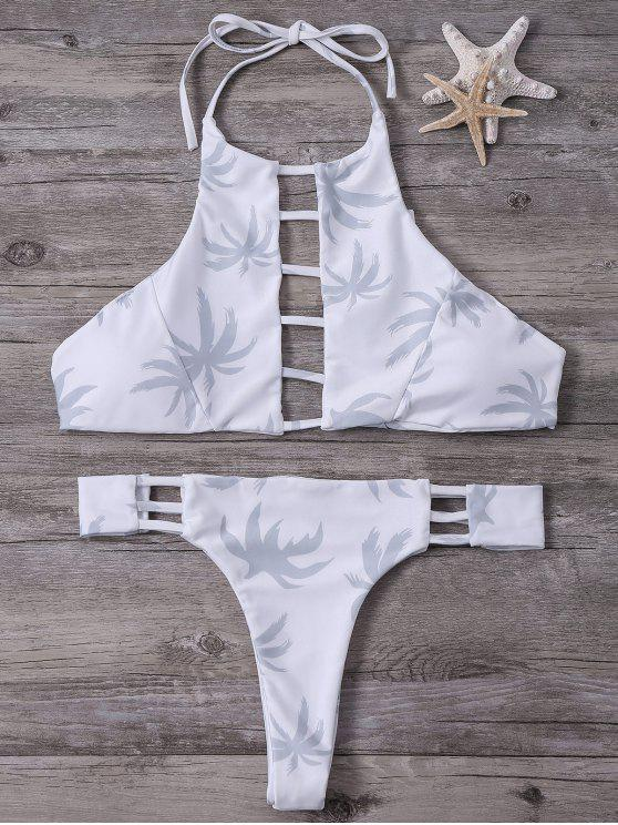 b20e9da4064 2019 High-Cut Maple Leaf Printed Bikini Set In WHITE L | ZAFUL