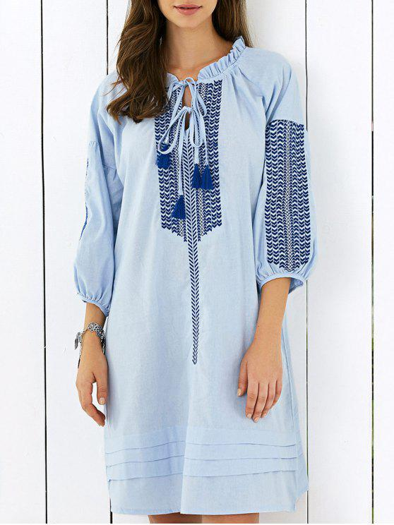 lady Embroidered Puff Sleeve V Neck Midi Dress - LIGHT BLUE ONE SIZE
