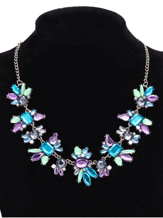 new Faux Crystal Geometric Water Drop Necklace Jewelry - PURPLE
