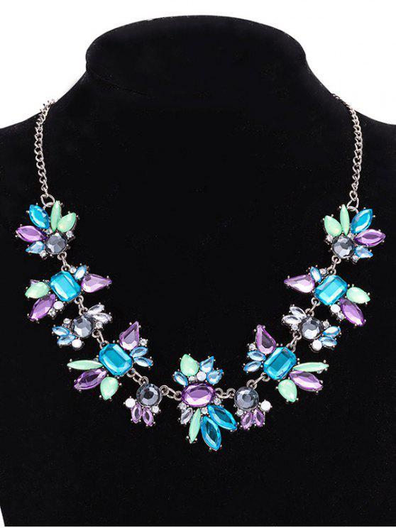 new Faux Crystal Geometric Water Drop Necklace Jewelry - PURPLE