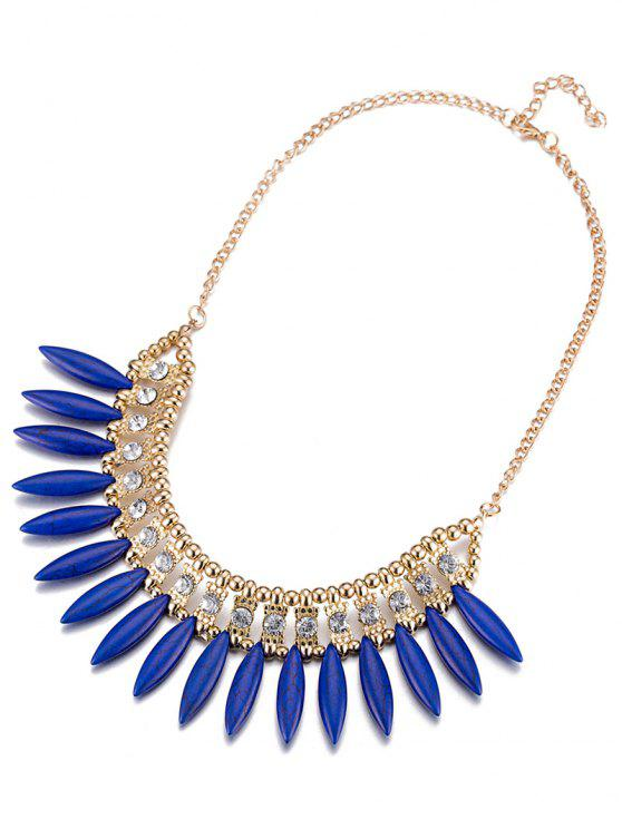 fancy Faux Rammel Rhinestone Hollow Out Necklace - BLUE