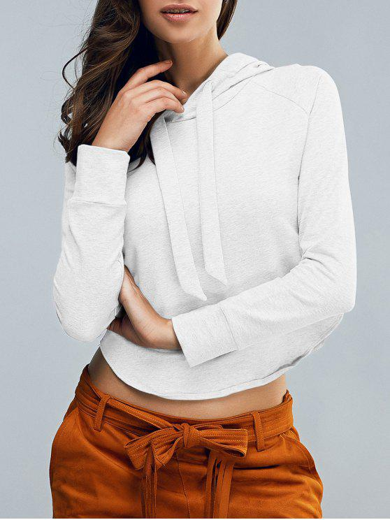 sale Cropped Hooded Long Sleeve Pullover Hoodie - WHITE S