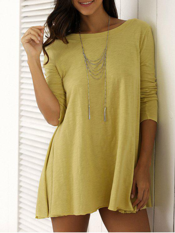 sale U Neck Long Sleeve Solid Color T-Shirt - YELLOW M