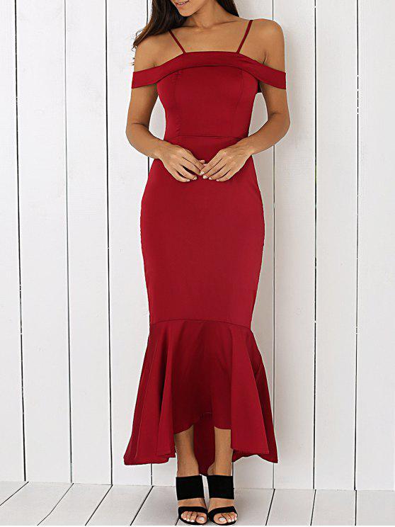 Maxi Vestido Atractivo de Fiesta de Graduación de Sirena Fuera del Hombro - Vino Rojo L