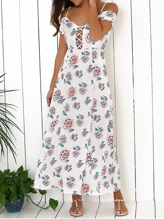 Cold Shoulder Maxi Dress - Blanc L