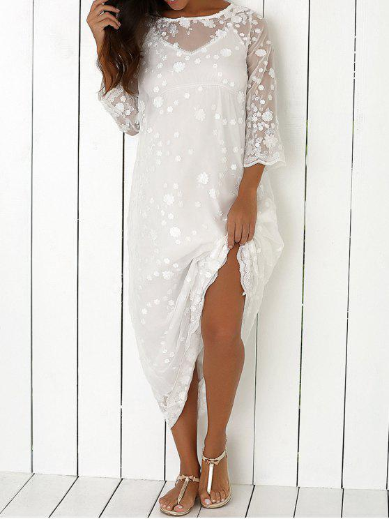 latest Fairy Lace Two-Piece Dress - WHITE ONE SIZE