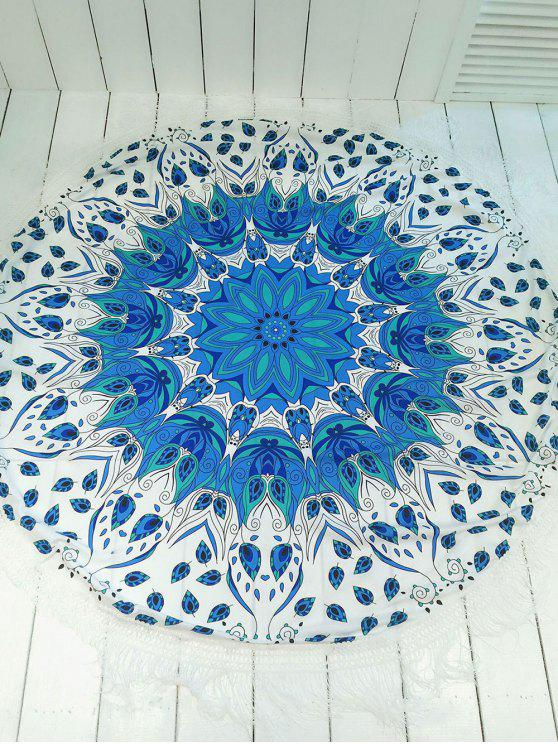 chic Printed Round Shape Tassels Convertible Beach Throw - BLUE AND WHITE ONE SIZE