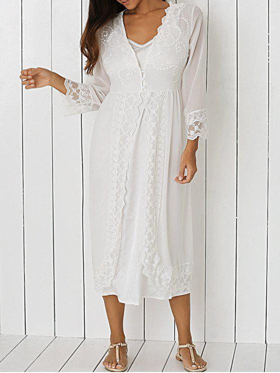 lady Front Slit Sheer Lace Dress - WHITE L
