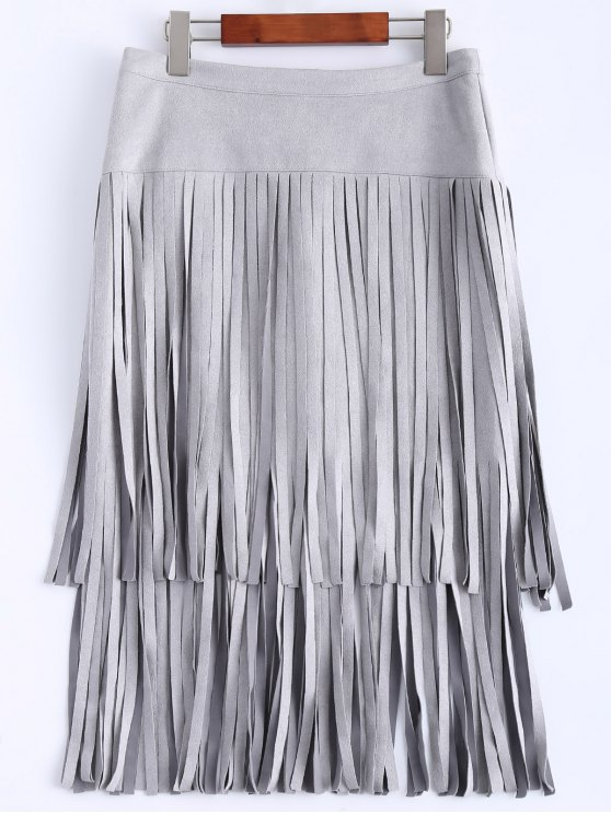sale Faux Suede Fringed Flapper Skirt - GRAY 2XL