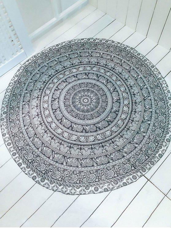 Convertible Impreso forma redonda de la toalla de playa - Blanco y Negro Única Talla