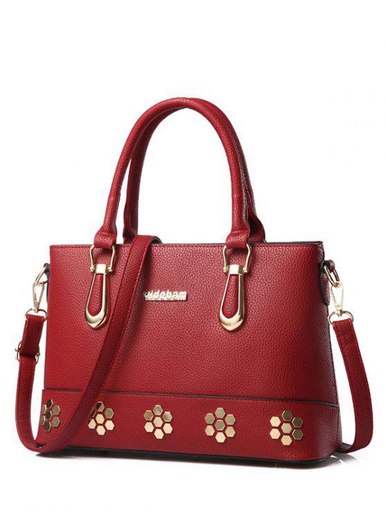 Metal Zipper PU Leather Tote Bag - Vinho vermelho