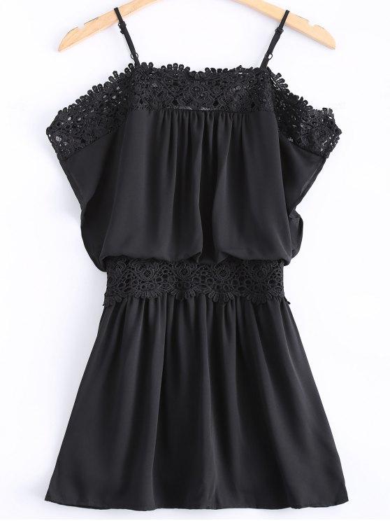 affordable Lace Spliced Cami Cut Out Black Dress - BLACK L