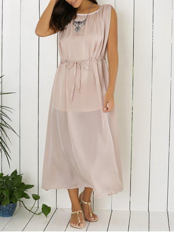 online Gray Sleeveless Backless Maxi Dress - GRAY M