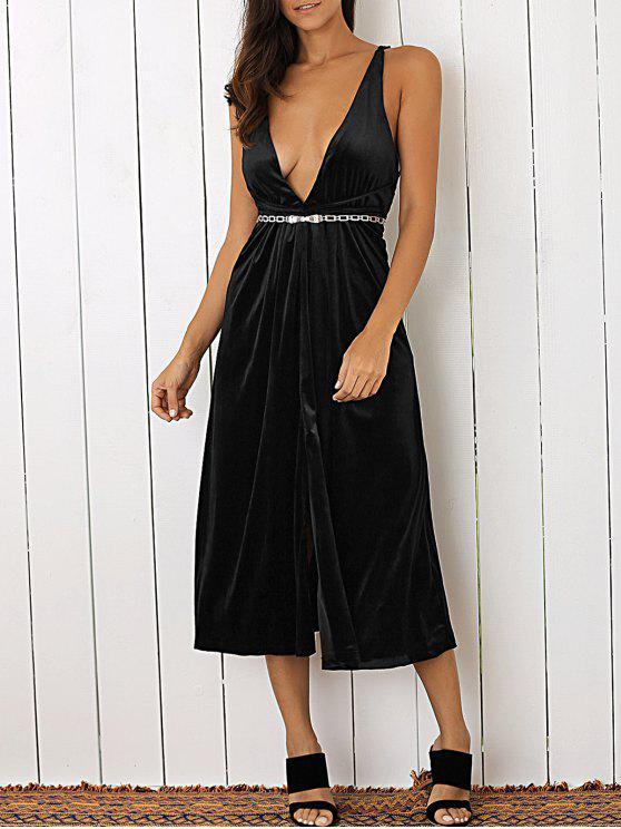 ladies Plunging Neck Velvet Dress - BLACK S