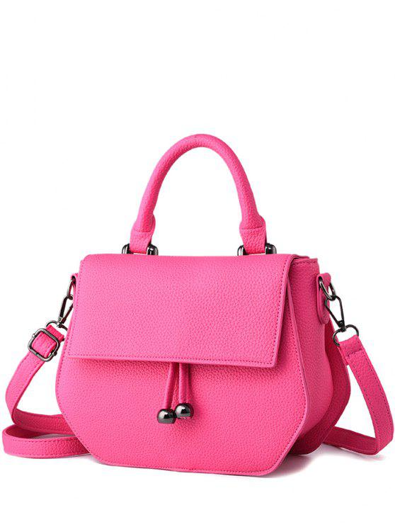 outfit Zip PU Leather Metal Crossbody Bag - ROSE MADDER