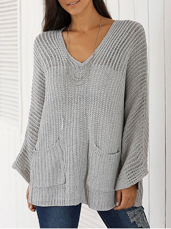 shop V Neck Chunky Sweater - LIGHT GRAY ONE SIZE