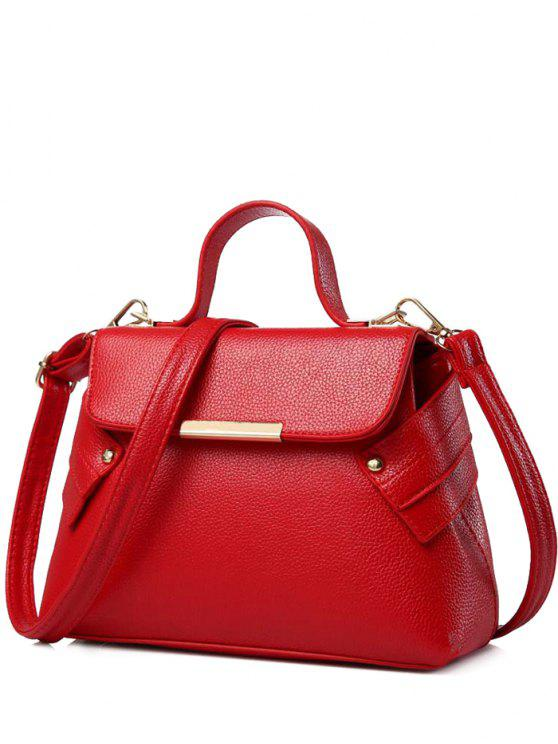 outfits Magnetic Closure Metal PU Leather Crossbody Bag - RED