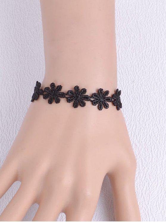 Artificial pulsera tejida de la flor del cordón - Negro