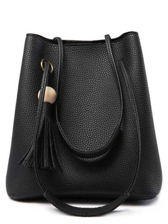 chic Tassels Magnetic Closure Metal Ring Shoulder Bag - BLACK