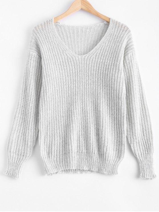latest V Neck Oversized Sweater - GRAY XL