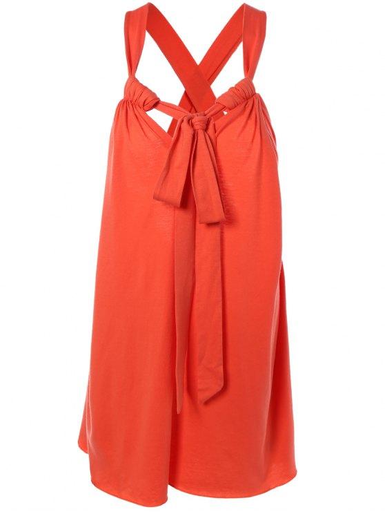 affordable Halter Cross Back Cami Shift Dress - RED M