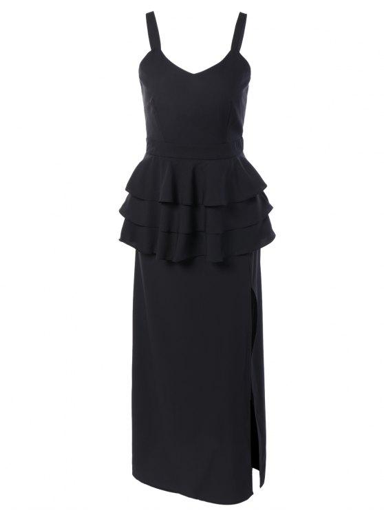 sale Peplum Maxi Dress - BLACK L