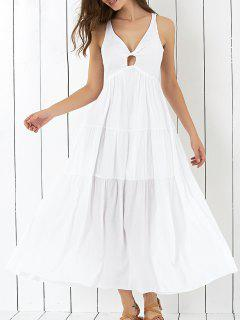 Cross Back Tiered Empire Waist Dresses - White L