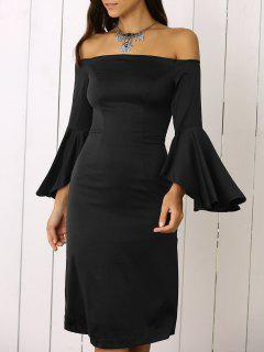 Dramatic Sleeve Off The Shoulder Sheath Dress - Black S