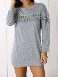 Fringed Sweatshirt Dress - Gray S