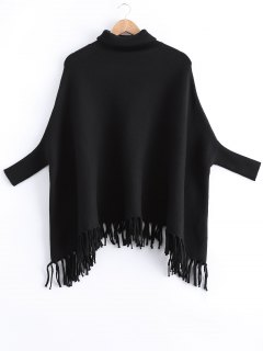 Fringed Batwing Sleeves Loose Sweater - Black