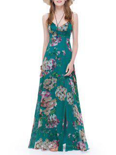 Floral Long Slit Backless Cami Dress - Green S