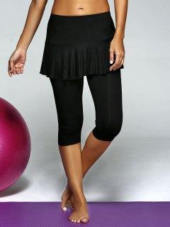 Elastic Waist Skinny Skirt Capri Gym Pants - Black L